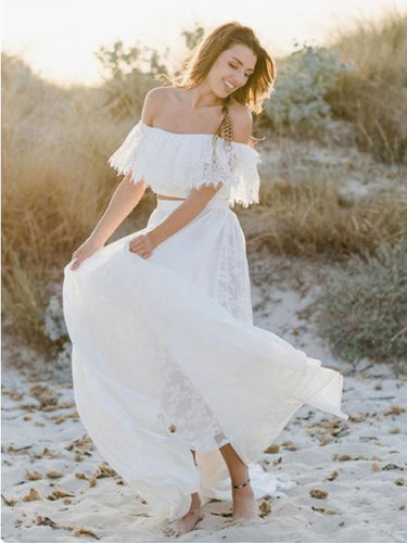 Beach Flowy Off the Shoulder Two Piece Lace Wedding Dress,Casual Bridal Separates,20082695-Dolly Gown