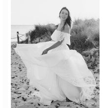 Beach Flowy Off the Shoulder Two Piece Lace Wedding Dress,Casual Bridal Separates,20082695