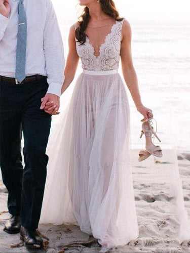Beach Wedding Dress,Flowy Wedding Dress,Lace Top Wedding Dress,WS076