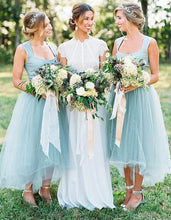 Beautiful Mint Tea Length Tulle Bridesmaid Dresses with Wide Straps,20081820
