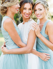 Country Style Mint Tea Length Tulle Bridesmaid Dresses with Wide Straps,20081820
