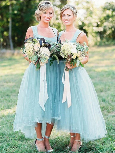 Beautiful Mint Tea Length Tulle Bridesmaid Dresses with Wide Straps,20081820-Dolly Gown
