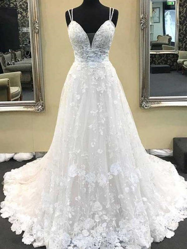 A-line Lace Appliques Celebrity Wedding Dress,GDC1234