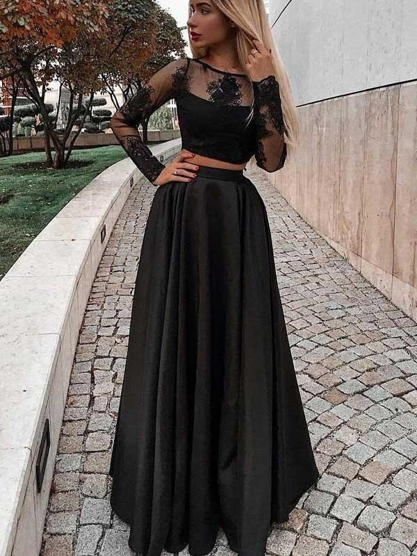 Black Fashion Long Sleeved Lace Two Piece Prom Formal Dress,20081911-Dolly Gown