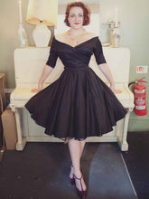 Black Off Shoulders Vintage Style Short Wedding Dress with Sleeves for Older Brides,20111554-Dolly Gown