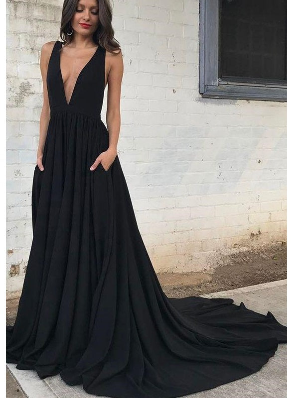 Black Backless Plunge V Neck A-line Prom Dress with Chapel Train,Occasion Dress,GDC1276-Dolly Gown