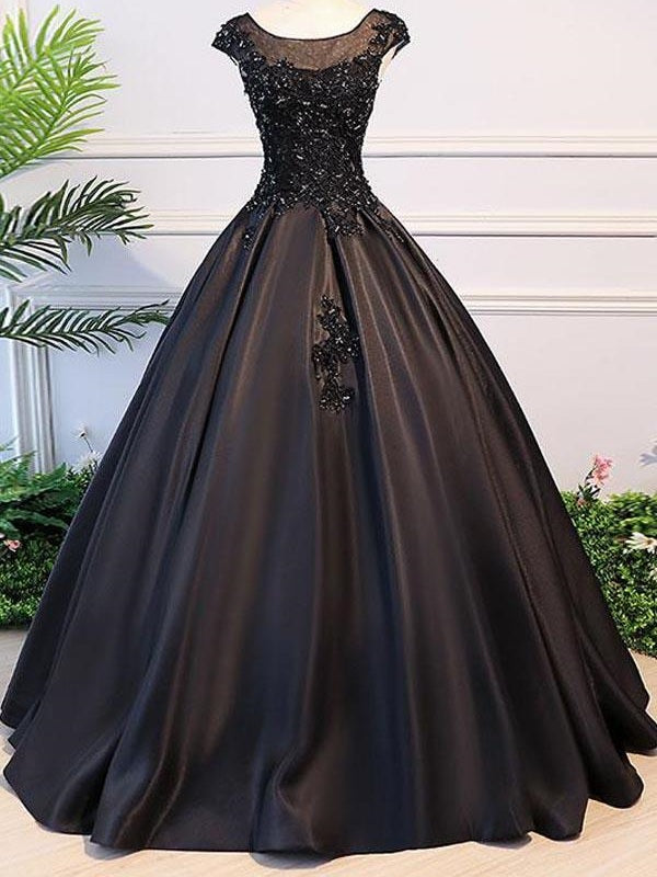 Black Ball Gown Illusion Neck Cap Sleeves Prom Dress,Graduation Ball Gown,GDC1233