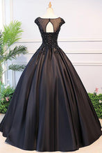 Black Ball Gown Cap Sleeves Prom Dress,Graduation Ball Gown,GDC1233