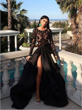 Black Long Sleeve Lace Side Slit Prom Dress, GDC1115