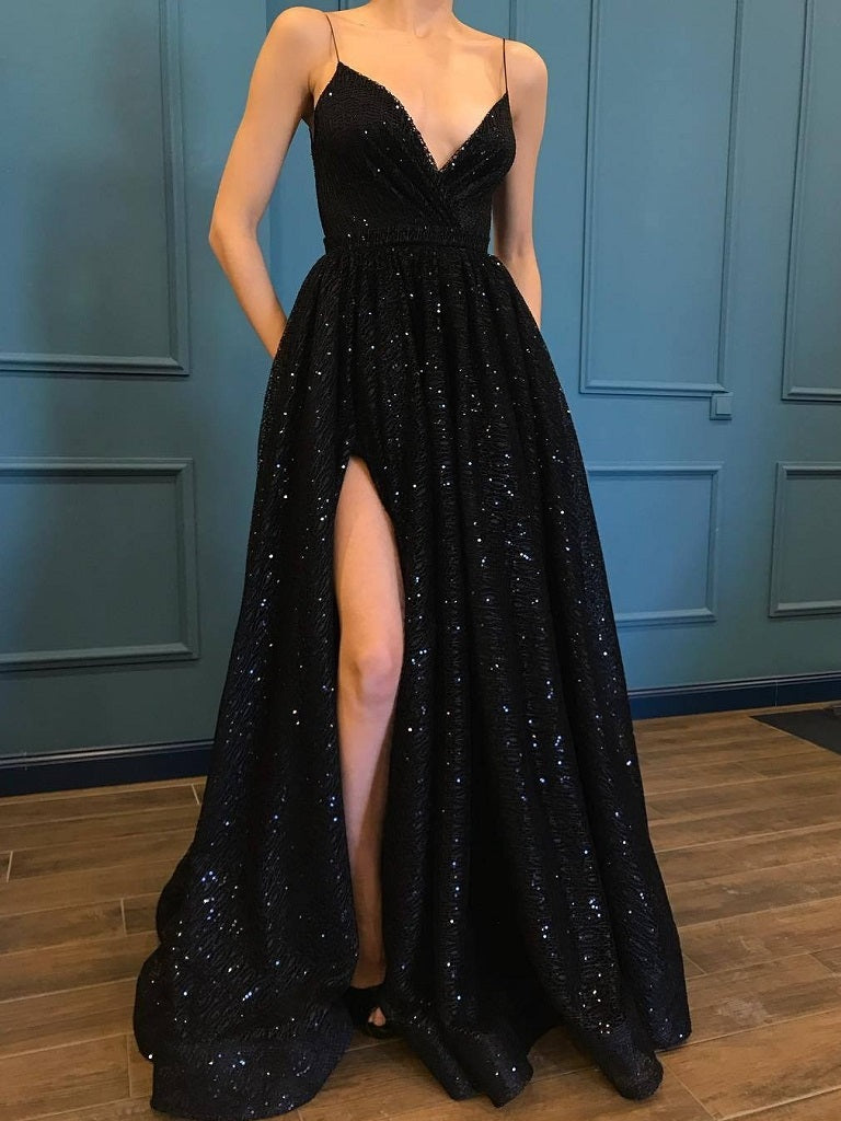 Black Sequins Side Slit A line Spaghetti Straps Party Prom Dress,GDC1093