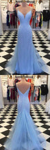 Blue Dazzling Beading Sheath Prom Dress,Formal Graduation Dress,GDC1222