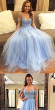 Blue Formal Sweet 16 Graduation Long Tulle Prom Dress with Delicate Beading,GDC1170-Dolly Gown