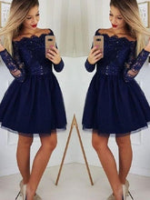 Blue Long Sleeves Mini Short Homecoming Dress,Short Prom Dress,GDC1308-Dolly Gown