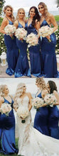 Blue Sexy Long Bridesmaid Dresses Backless with Spaghgetti straps,GDC1018
