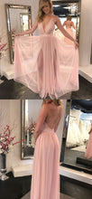 Blush Pink Flowy Side Slits Plunge V neck Sexy Party Prom Dress,GDC1157