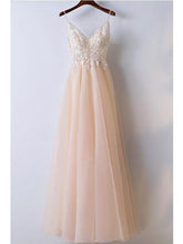 Blush Lace Top A line Tulle Prom Dress Graduation Dress,GDC1114