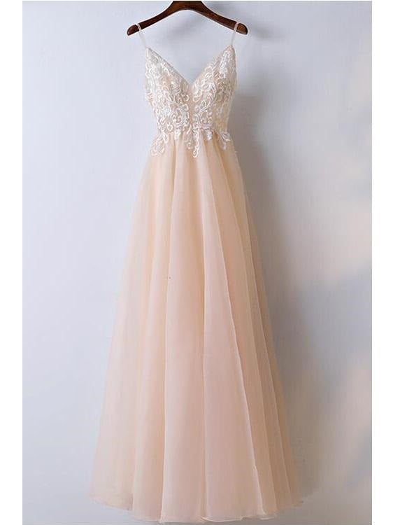 Blush Lace Top Spaghetti Straps A line Tulle Prom Dress Graduation Dress,GDC1114-Dolly Gown