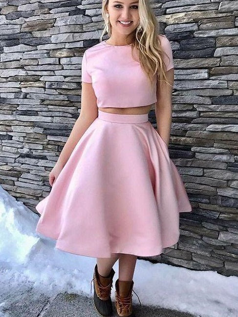 Blush Pink Cap Sleeves Two Piece Short Prom Dress,Graudation Homecoming Dress,GDC1306