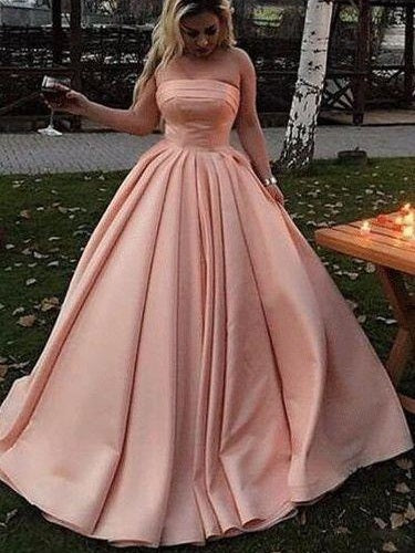 Blush Pink Straight Across Neck A-line Satin Plain Long Prom Dress, Graduation Dance Dress,GDC1340