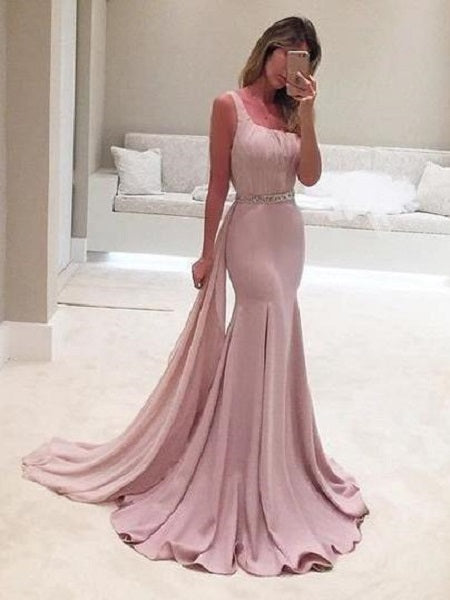 Blush Pink V Back Trumpet Long Prom Dress with Draping,GDC1145