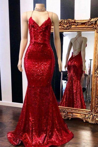 Bodycon Red Backless Sequins Mermaid Prom Dress,20081914