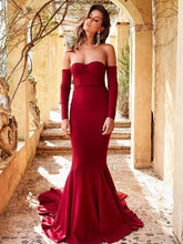 Bodycon Mermaid Long Prom Dress with Long Sleeves, Simple Prom Gown.GDC1138