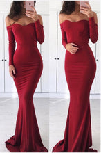 Tight Bodycon Mermaid Long Prom Dress with Long Sleeves,GDC1138
