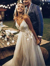 Bohemian Backless V neck Beautiful Wedding Dress, Boho Tulle Bridal Gown,GDC1328