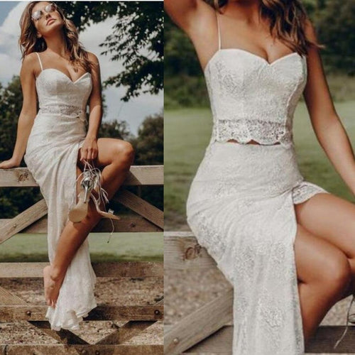 Boho Country Style Summer Lace Two Piece Spaghetti Straps Bridal Separates with Slit,20082692-Dolly Gown
