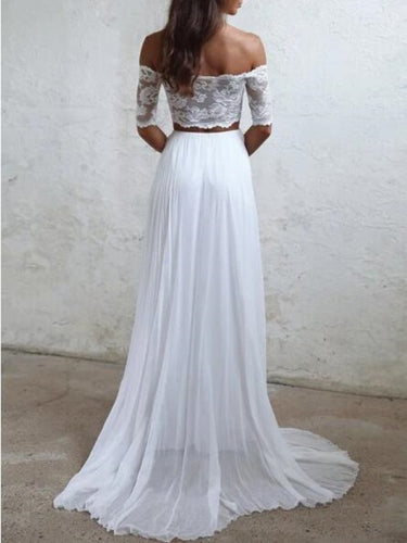 Boho Beach Two Piece Wedding Dress,20082216