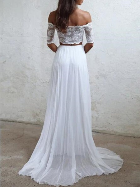 Boho Beach Two Piece Wedding Dress,20082216-Dolly Gown