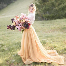 Boho Long Sleeve High Neck Bridal Separates with Yellow Separate Skirt,20082669-Dolly Gown