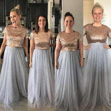 Boho Rose Gold Top with Grey Tulle Skirt Two Piece Long Bridesmaid Dresses,200818116