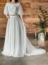Boho Rustic  Cap Sleeces Crop Top 2 Piece Wedding Dress with Lace tulle Skirt,20081503