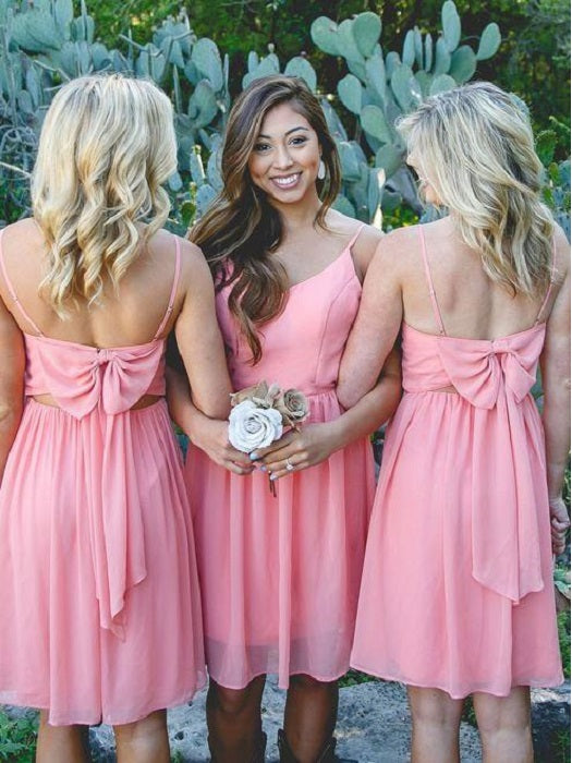Boho Rustic Style Watermelon Short Bridesmaid Dresses Summer with Boots,20081814