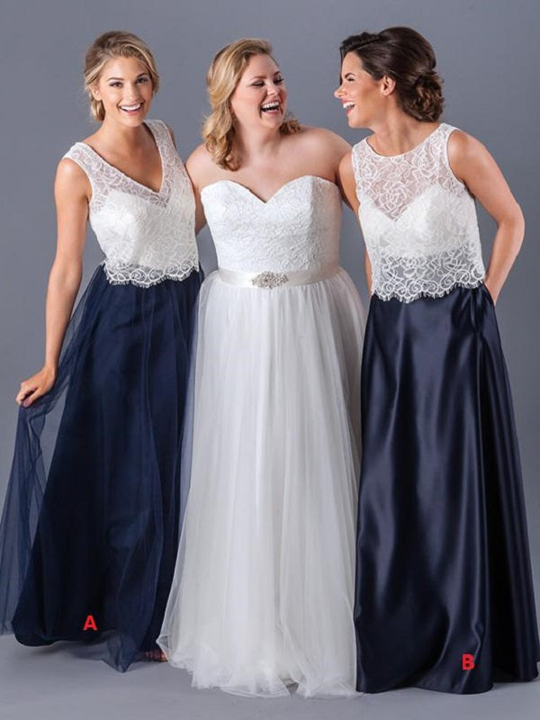 Casual Boho Two Piece Lace Top Mismatched Long Bridesmaid Dresses,Fall Bridesmaid Dresses,20081807