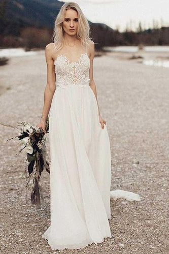 Boho Beach Chiffon Flowy Spaghetti Straps Backless Wedding Dress, Robe De Mariée,GDC1271