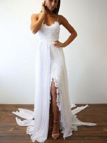 Boho Beach Flowy Chiffon Spaghetti Straps  Wedding Dress with Side Slit,Summer Wedding Dress,GDC1329