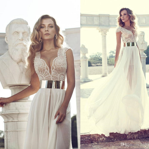 Boho Chiffon Flowy Wedding Dress,Summer Beach Wedding Dress,GDC1191
