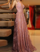 Boho Lace Long Low Back A-line Summer Prom Dress Evening Dress ,GDC1113