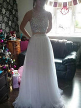 White Two Piece Long Tulle Prom Dress,8th grade Formal Dress,20110201