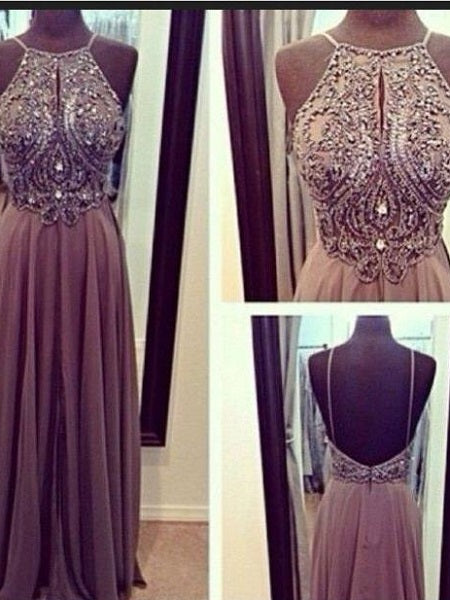 Brown Prom Dress,Dusty Prom Dress,Long Prom Dress,Beaded Prom Dress,MA108-Dolly Gown