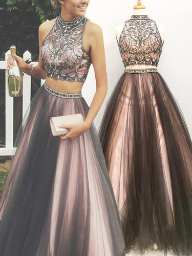Brown Two Piece Prom Dress Long Prom Dress Poofy Prom Dress for Teens,MA014