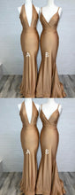 Gold Plunge V neck Tight Mermaid Long Jersey Prom Dress,GDC1207