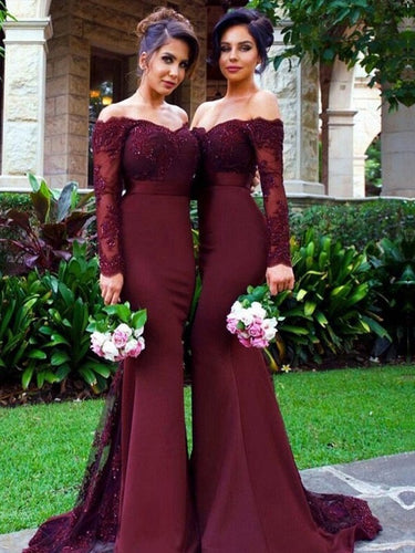 Burgundy Bridesmaid Dresses,Mermaid Bridesmaid Dresses,Bridesmaid Dresses with Sleeves,FS049-Dolly Gown