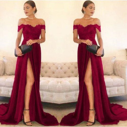 Burgundy Lace Top Prom Dress with Slit,Long Formal Gown,GDC1006-Dolly Gown