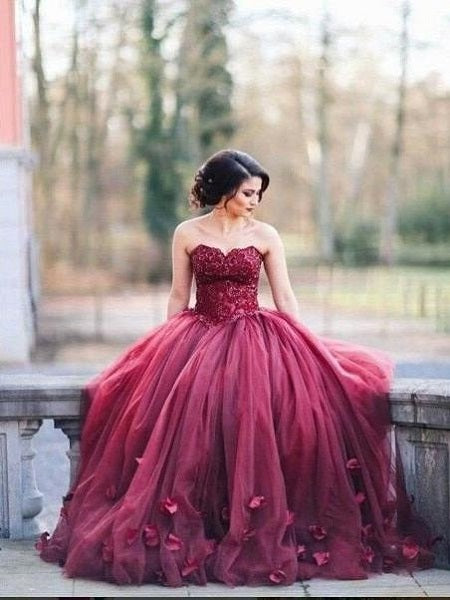 Burgundy Prom Dress,Puffy Prom Dress,Ball Gown Prom Dress,Burgundy Wedding Dress,MA025