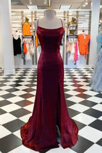 Burgundy Prom Dress with Slit Backless Prom Dress Burgundy Formal Dresses, 20081617-Dolly Gown