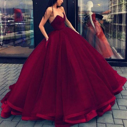 Burgundy Ball Gown Tulle Strapless Prom Dress with Satin Binding Hem,GDC1178