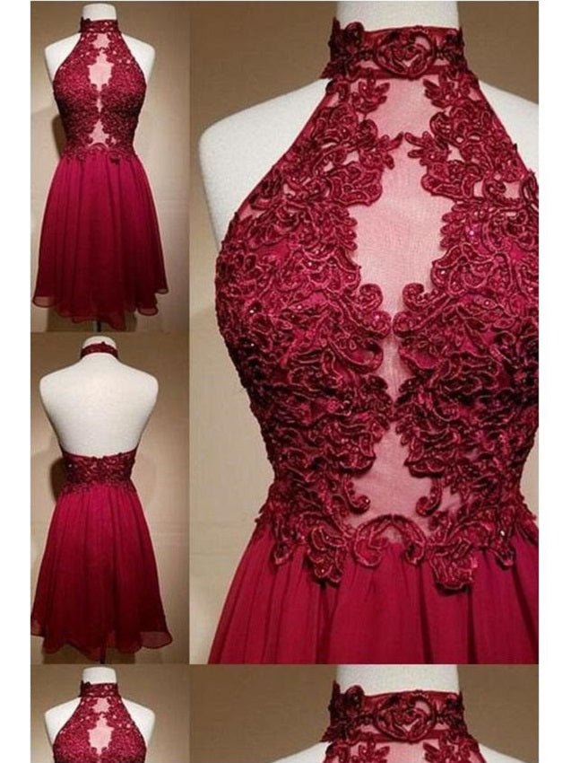 Burgundy Halter See Through Short Prom Dress Homecoming Dress,GDC1303